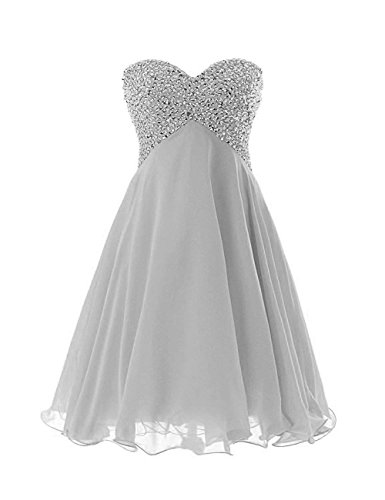 ModeC Beaded Homecoming Dresses Short Sweetheart Chiffon A-line Cocktail Gown Silver US14