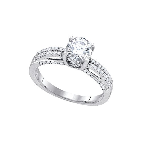 14kt Gold Diamond Ring Brilliant (14kt White Gold Womens Round Diamond Solitaire Bridal Wedding Engagement Ring 1-1/5 Cttw)