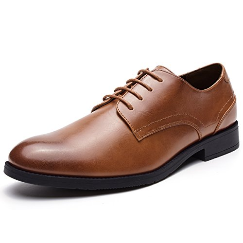 Men's Leather Lined Dress Shoes Lace-up Plain Toe Formal Oxford Shoes Brown (Brown Leather Dress Oxfords)