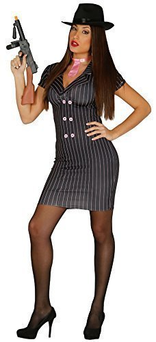Ladies 1920s Sexy Black Pinstriped Pink Gangster Moll Bugsy Malone Halloween Carnival Fancy Dress Costume Outfit (M/L (UK 14-16)) -