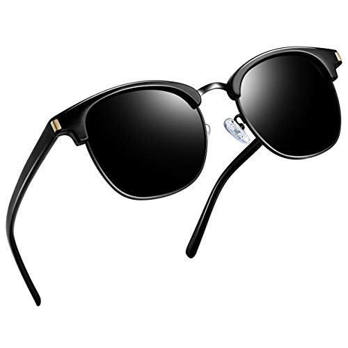 Joopin Semi Rimless Polarized Sunglasses Women Men Retro Brand Sun Glasses (Retro All Black) -