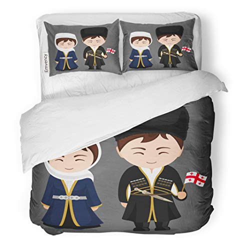 Semtomn Decor Duvet Cover Set Twin Size Georgians in National Dress Flag Man and Woman Traditional 3 Piece Brushed Microfiber Fabric Print Bedding Set -