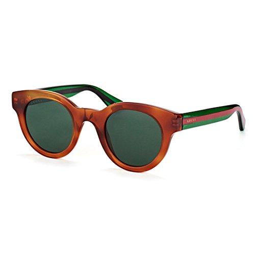 Gucci GG 0002S 003 Havana Plastic Round Sunglasses Green - Online Glasses Gucci