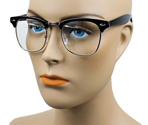 MJ EYEWEARS New Vintage Classic Half Frame Semi-Rimless Wayfarer Clear Lens Glasses