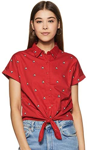 Life by Shoppers Stop Womens Collared Printed Tie Up Crop Shirt