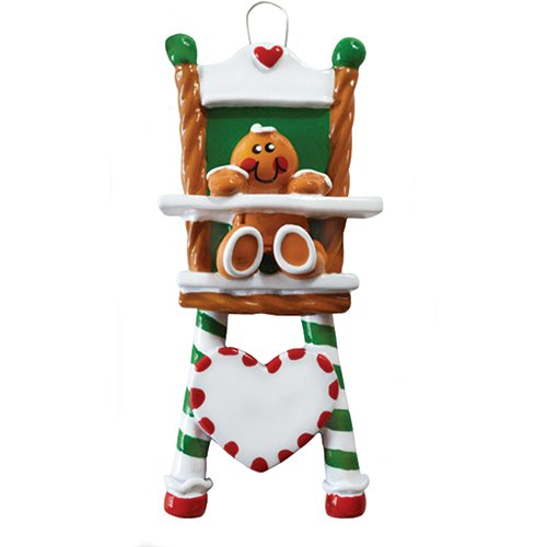 Personalized Gingerbread High-Chair Christmas Tree Ornament 2019 - Cute Sugar Baby Sit Eat Green Red Candy Cane Heart New Mom Shower Gift Grandkid Toddler Milestone - Free Customization -
