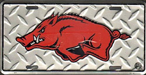 Ncaa Arkansas Razorbacks Diamond Plate - World Flags Direct Made in The USA - Arkansas Razorbacks Diamond Plate License Plate, Licensed NCAA Flag Aluminum 6