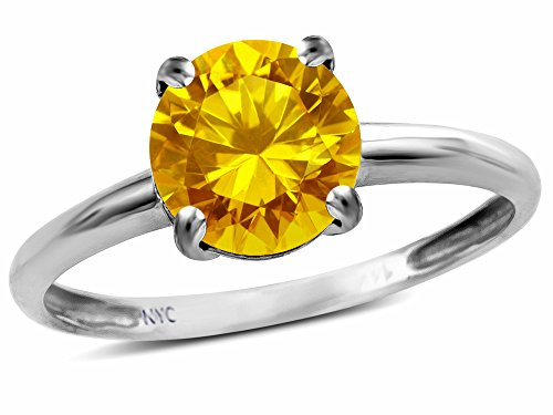 - Star K Genuine Citrine Round 7mm Classic Solitaire Engagement Promise Ring 10 kt White Gold Size 8