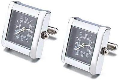 動く時計式 カフスボタン 文字盤 ブラック カフス ネクタイ タイピン