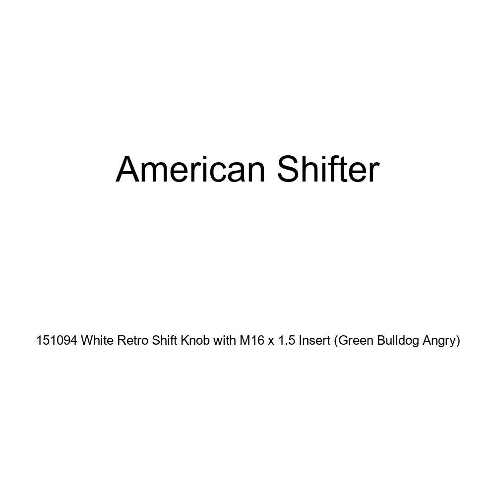 American Shifter 151094 White Retro Shift Knob with M16 x 1.5 Insert Green Bulldog Angry