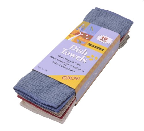 (Eurow Microfiber Waffle Weave Fast Drying Dish Cloths Absorbent Towels Assorted Colors Set of 10)