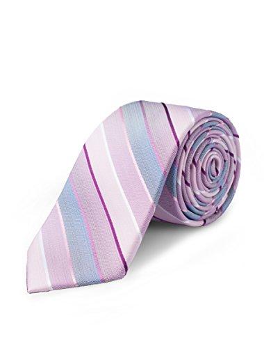 ORIGIN TIES Men's Classic Retro Silk Striped 2.5 inches Skinny Tie Pink ()
