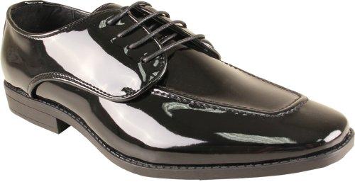 BRAVO Men Tuxedo Shoe TAVIS Dress Oxford Fashion Moc Square Toe Wrinkle Free Black Patent 9.5W lVOlaRAAf