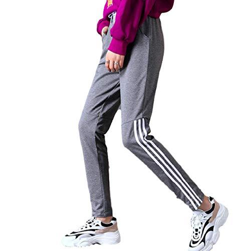 Moon Market Women's Drawstring Striped Sweatpants with Pockets Cuff Sports Workout Jogger Leggings Bottoms Trousers Capris (XL, Grey) Jeans Denim Skirt Hoodie Sweatshirts Girls Kawaii Harajuku Kpop ()