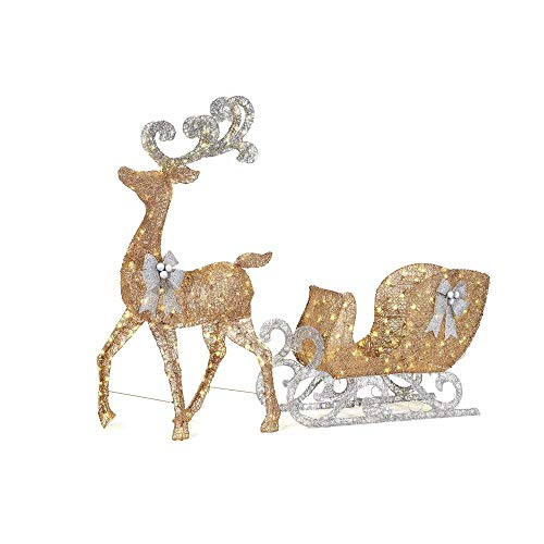 Home Accents Holiday 65 in. LED Lighted Gold Reindeer and 46 in. LED Lighted Gold Sleigh with Silver Bows (White-32) (Decorations Outdoor Reindeer)