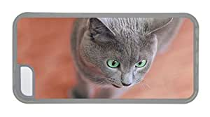 Hipster cassette iPhone 5C cover Gray Cat Green Eyes TPU Transparent for Apple iPhone 5C