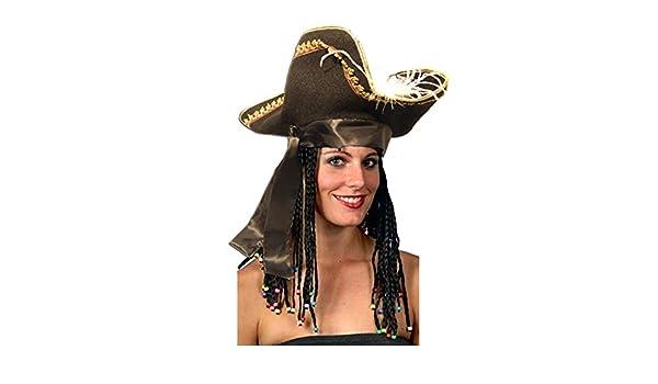 el carnaval Sombrero Capitán Garfio Negro Pirata Adulto: Amazon.es ...
