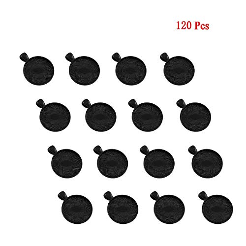 120 Pcs Bezel Pendant Trays Round Cabochon Settings Trays Pendant Blanks, 25mm Diameter (Black) by Csdtylh