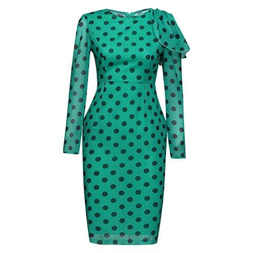 Pengy Women's Dot Print Dress O Neck Vintage Office Skirt Ladies Bodycon Backless Long Sleeve Dresses Green ()