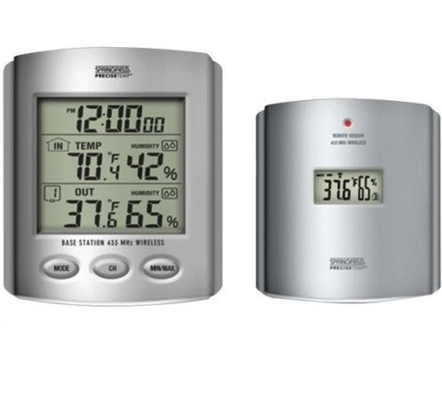TAYLOR 91756 Wireless Thermometer with Indoor/Outdoor Humidity & Clock by Taylor