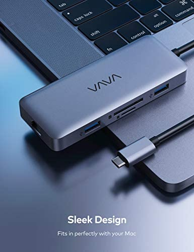 VAVA USB C Hub, 8-in-1 USB C Adapter with 4K HDMI, 1Gbps RJ45 Ethernet Port, USB 3.0, SD/TF Card Reader, 100W PD Charging Port for MacGuide/Pro/Air and Type C Windows Laptops