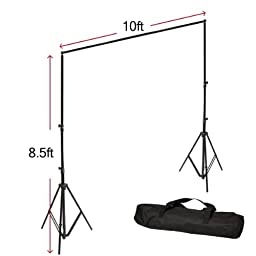 LimoStudio Photography 10 \'x 10\' Muslin White Studio Background Support Kit 700W 33\