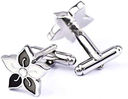 カフリンクス、モザイクダイヤモンド形ツルニチニチソウカフリンクス(1ペア)、エレガントな収納ディスプレイボックスが付属、男性/女性用