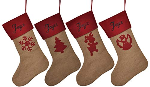 HUAN XUN Customized Name Personalized Christmas Stockings Joyce Best Gifts Bags Fireplace Decor for Home Familys