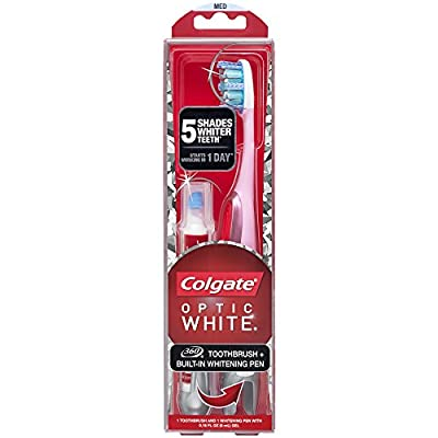 Colgate Optic White Toothbrush and Teeth Whitening Pen, Medium