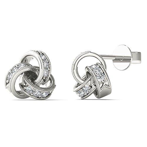 JewelAngel Women's 10K White Gold Diamond Accent Love Knot Stud Earrings (H-I, I1-I2)