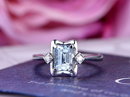 Emerald Cut Aquamarine Engagement Ring Diamond Wedding 14K White Gold 5x7mm
