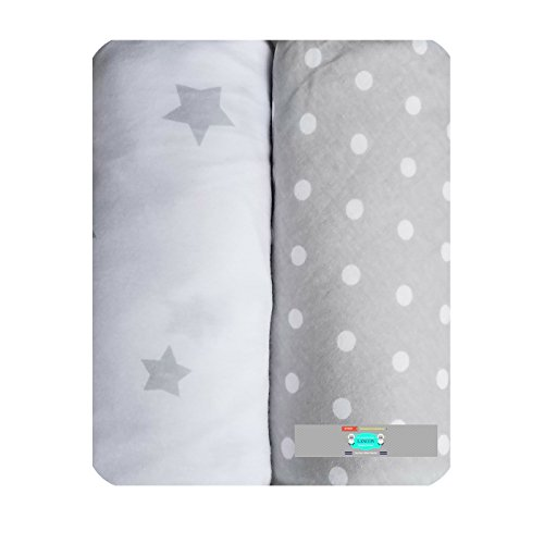 Changing Pad Cover Set by LANCON Kids - 2 Pack Cradle Sheet Set 100% Jersey Knit Cotton (Gray Star & White Polka Dot)