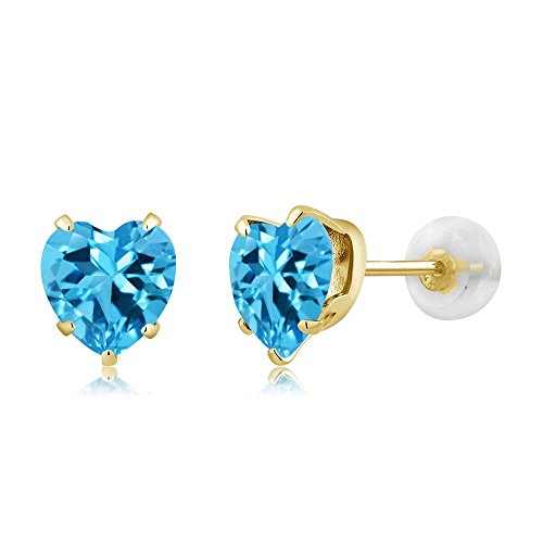 Swiss Blue Topaz 10K Yellow Gold Gemstone Birthstone Stud Earrings (1.90 cttw, 6MM Heart (Yellow Heart Style Birthstone Earrings)