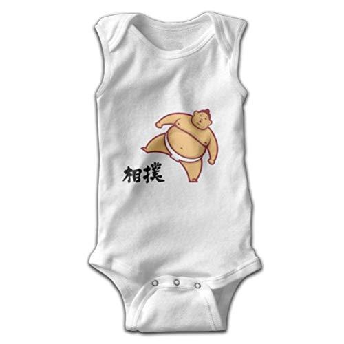SHUNLEI Infant Sleeveless Onesie Japanese Sumo Hanzi Cartoon Bodysuits for Baby Boy and Girl 100% Cotton Romper White]()