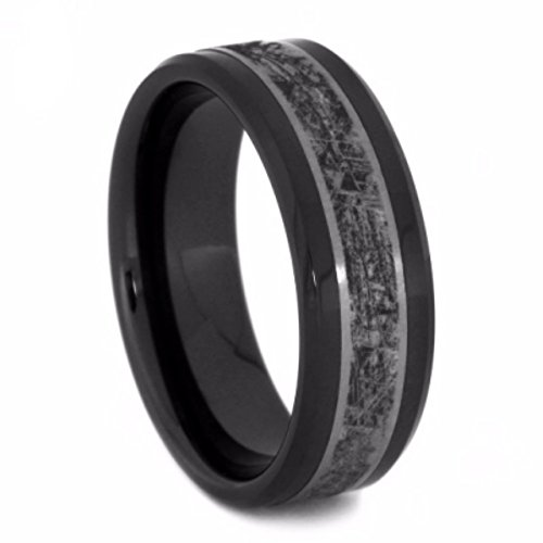 Black Ceramic, Mimetic Meteorite 8mm Comfort-Fit Matte Titanium Wedding Band, Size 7.5 by The Men's Jewelry Store (Unisex Jewelry)
