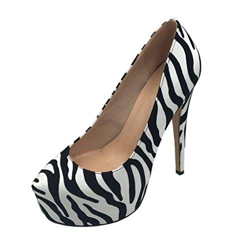 Cuckoo Women's fashion Pointed Toe Hidden Platform Sexy Stiletto High Heel Pump Shoes Sude Zebra 8