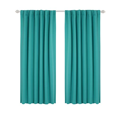 Tab and Rod Pocket Room Darkening Shades Insulated Thermal Window Coverings Blackout Curtains for Living Room 52x63 inch Turquoise 2 Panels ()