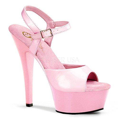 Pleaser Women's KISS-209/BP/M Platform Sandal,Baby Pink Patent,11 M US -