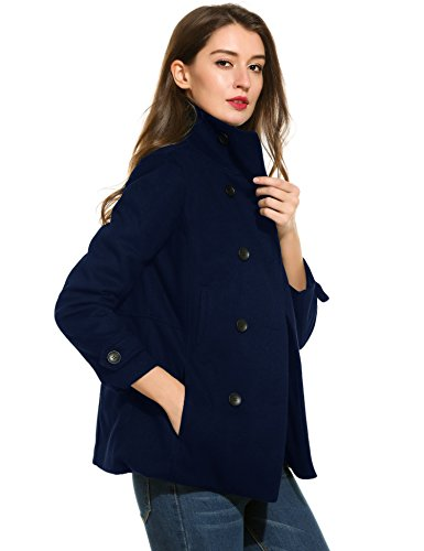 Womens Fitted Lightweight Peacoat (Zeagoo Women's Peacoat Double Breasted Overcoat Long Sleeve Jacket Dark Blue XXL)