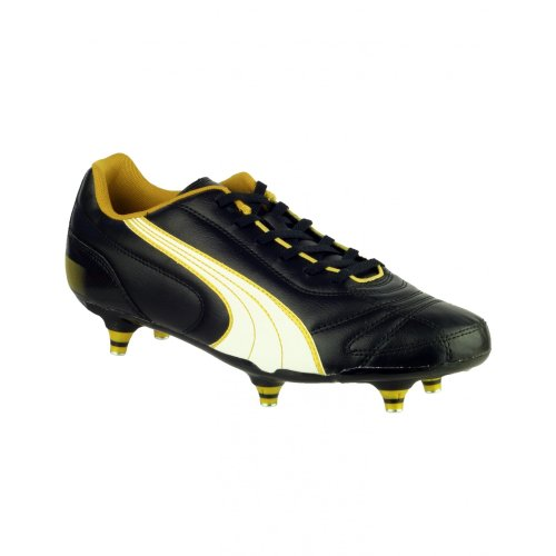 Puma Mens Kratero Screw In Mens Football Boot Black/White/Gold Mens Screw In Stud Leather Football Boot Black 1ok91pmt