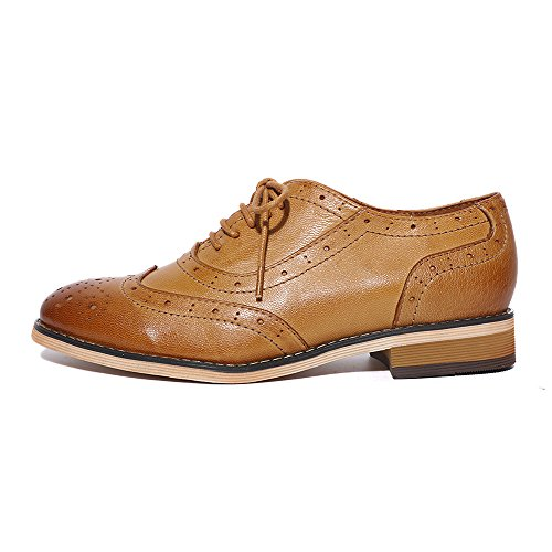 Pictures of Mona Flying Leather Perforated Lace-up Oxfords 8