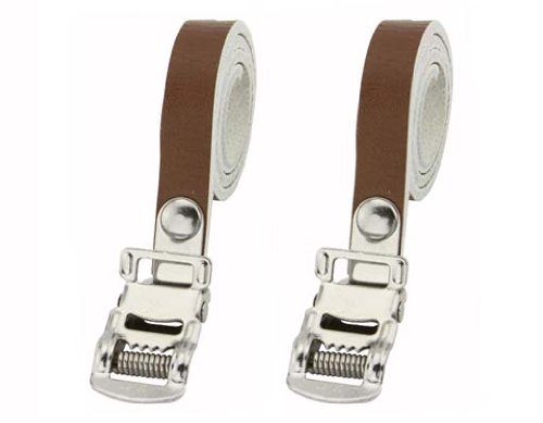 Leather Toe Straps Brown. Bike pedal strap, bicycle pedal st