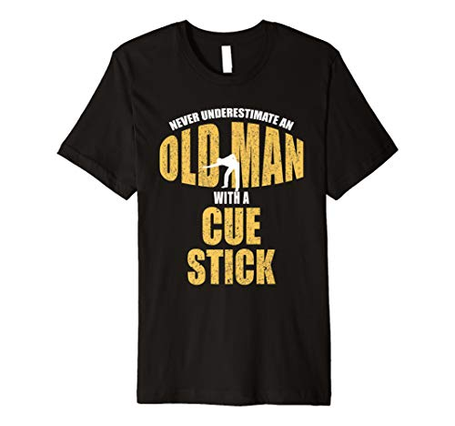 Funny Pool Billiards Snooker Player Old Man With Cue Stick Premium T-Shirt