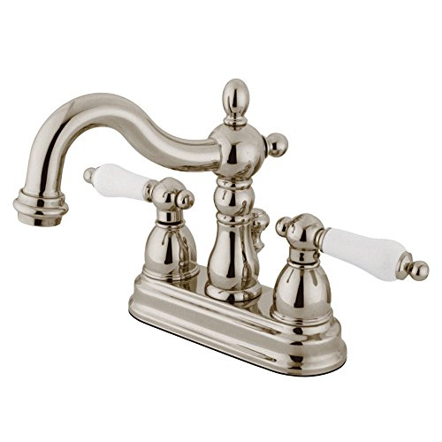 Pn Polished Nickel Porcelain - Kingston Brass KB1606PL Heritage 4-inch Centerset Lavatory Faucet with Porcelain Lever Handle Pn, Polished Nickel
