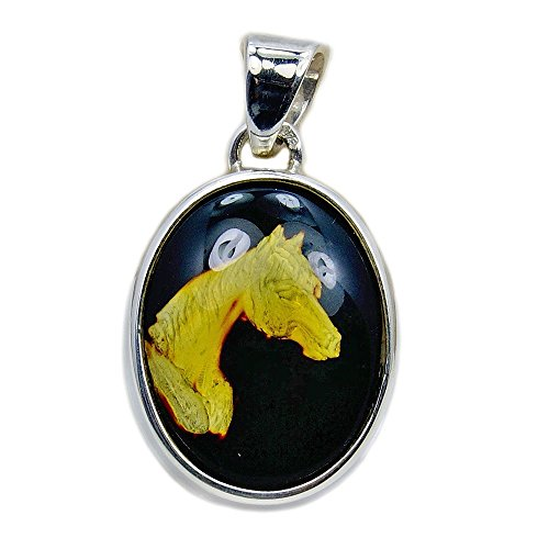 Tamed Mustang' Sterling Silver Natural Baltic Amber Horse Cameo Pendant