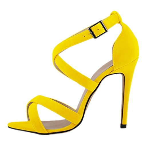 Out Escarpins Femmes Stiletto HooH Boucle Peep Toe Hollow Sandales Jaune Daim q8xwOt