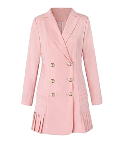 Tootless-Women Plus Size Lapel Mid-Long Pleated Double Breasted All-Match Suit Jacket Pink 2XL (Double Pleated Corduroy)