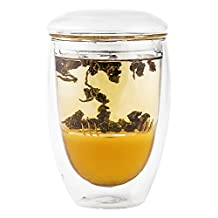 Double Wall Tea Cup with Glass Infuser and Lid - Hands Safe Tumbler Keeps Beverages Hot or Cold – Enjoy the Flavor of Your Drinks in Borosilicate Glass Without Metal or Silicone Taste - Perfect Teacup for Brewing Fine Loose Leaf Teas - 10 oz.