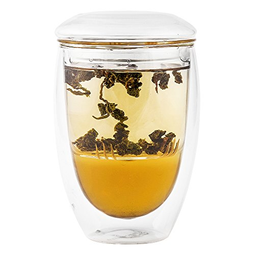 Cheap Tea Infuser Cup With Double Wall Glass Design, Strainer and Lid - Perfect Steeper to Brew Loos...