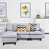 Giantex Convertible Sectional Sofa Couch w/Massage Back Cushion, L-Shaped Sofa Couch Plus Reversible Chaise, Linen Fabric Loveseat Couch for Small Space (Gray)